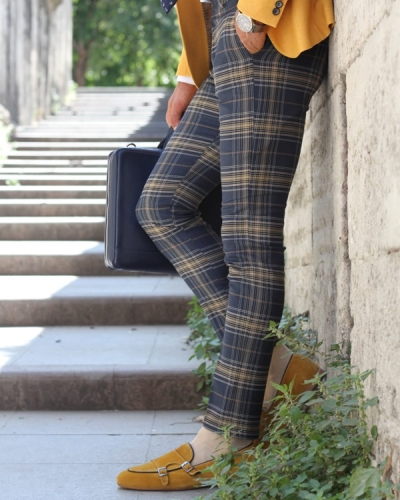 Dark Blue Slim Fit Plaid Pants by GentWith.com with Free Shipping