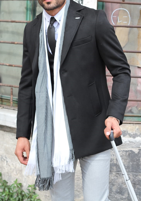 Black Slim Fit Wool Coat by GentWith.com with Free Shipping
