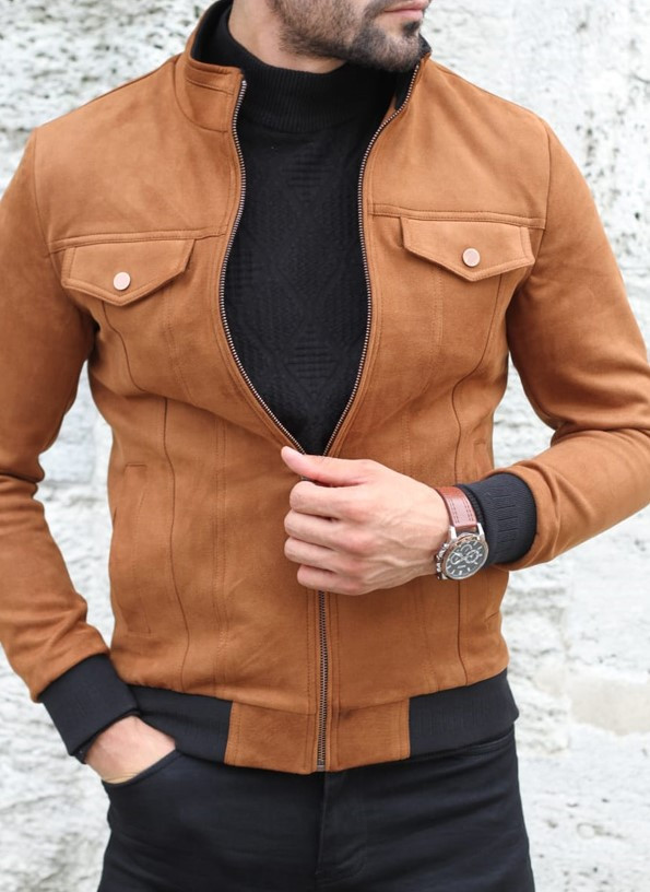Camel Slim Fit Suede Coat by GentWith.com with Free Shipping