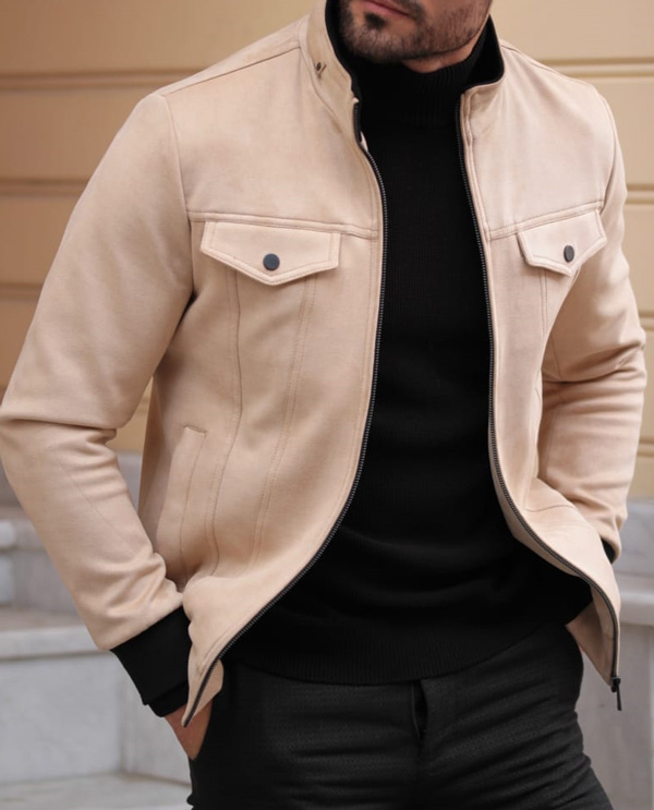 Beige Slim Fit Coat by GentWith.com with Free Shipping