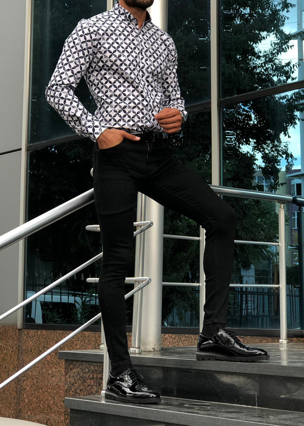 Black Slim Fit Button Collar Patterned Shirt by GentWith.com with Free Shipping