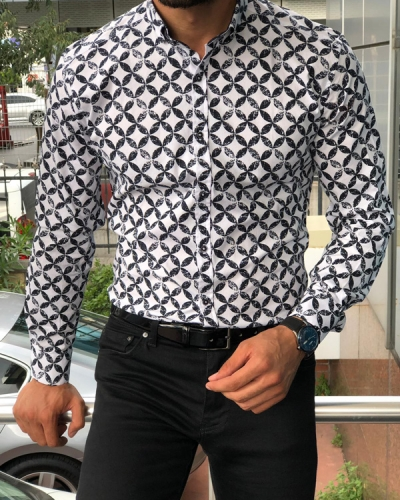 Black Slim Fit Patterned Shirt by GentWith.com with Free Shipping