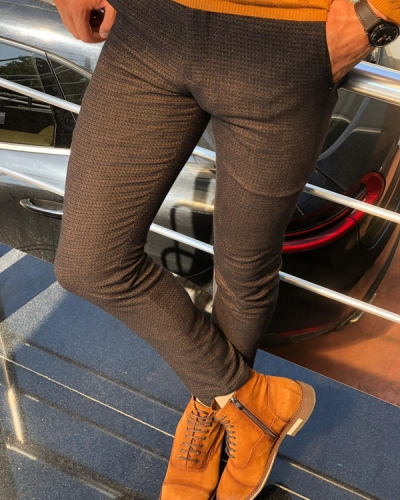 Camel Slim Fit Patterned Pants by GentWith.com with Free Shipping