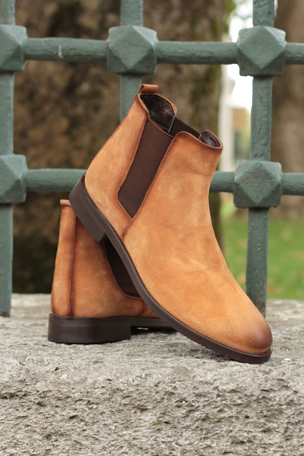 Brown Suede Chelsea Boots by GentWith.com with Free Shipping