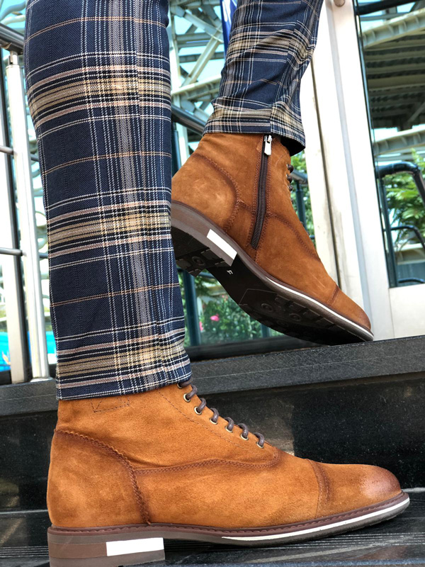 Brown Suede Laced Boots by GentWith.com with Free Shipping
