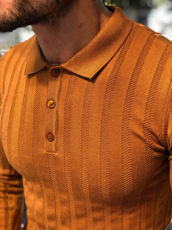 Camel Slim Fit Collar Sweater by GentWith.com with Free Shipping
