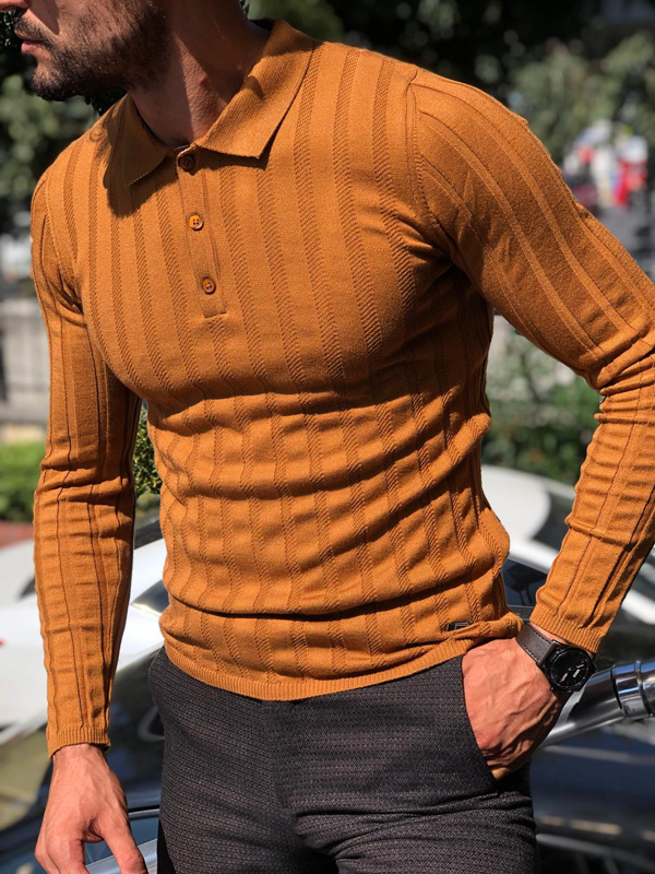 Camel Slim Fit Collar Striped Sweater by GentWith.com with Free Shipping