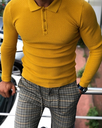 Mustard Slim Fit Sweater by GentWith.com with Free Shipping