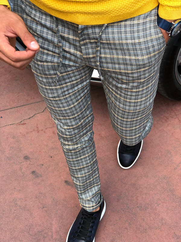 Mustard Slim Fit Plaid Pants by GentWith.com with Free Shipping