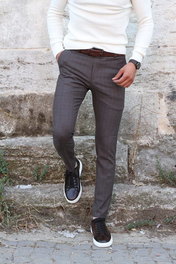 Camel Slim Fit Plaid Pants by GentWith.com with Free Shipping