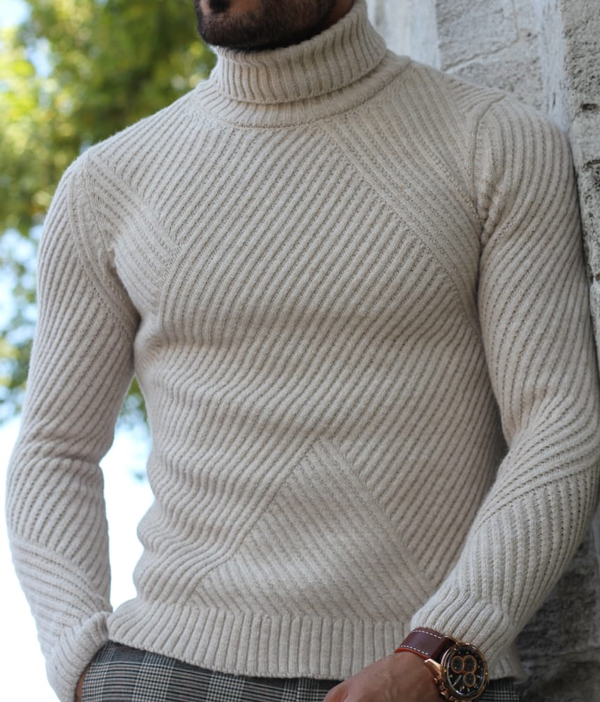Beige Turtleneck Sweater by GentWith.com with Free Shipping