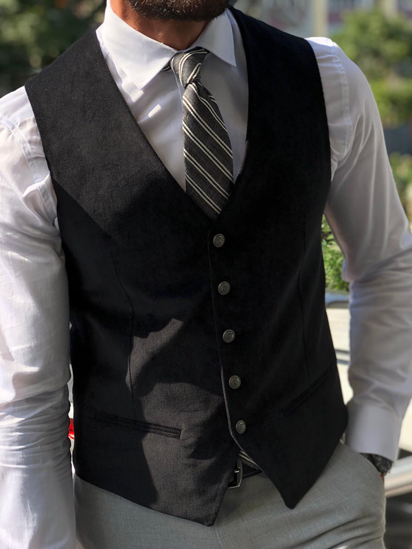 Black Velvet Vest by GentWith.com with Free Shipping
