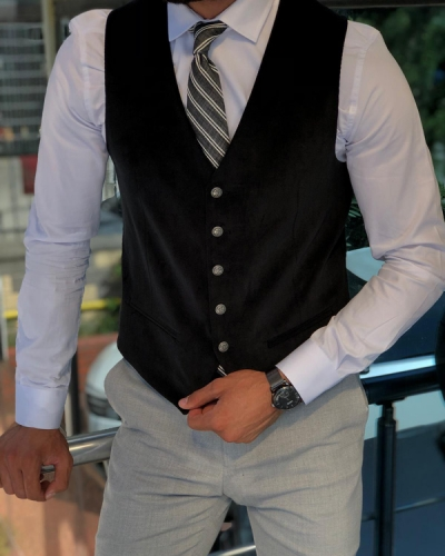 Black Slim Fit Velvet Vest by GentWith.com with Free Shipping