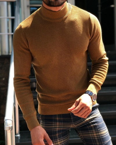 Camel Slim Fit Mock Neck Sweater by GentWith.com with Free Shipping