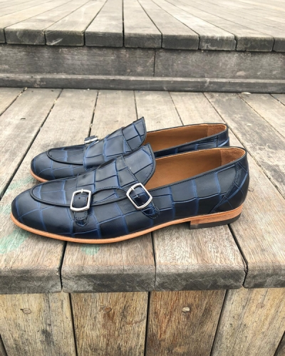 Dark Blue Leather Monk Strap Loafer by GentWith.com with Free Shipping