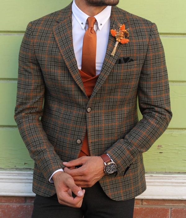 Khaki Slim Fit Plaid Wool Blazer by GentWith.com with Free Shipping