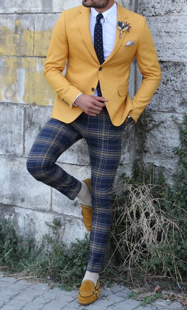 Mustard Slim Fit Blazer by GentWith.com with Free Shipping