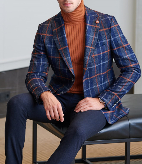 Navy Blue Slim Fit Plaid Wool Blazer by GentWith.com with Free Shipping