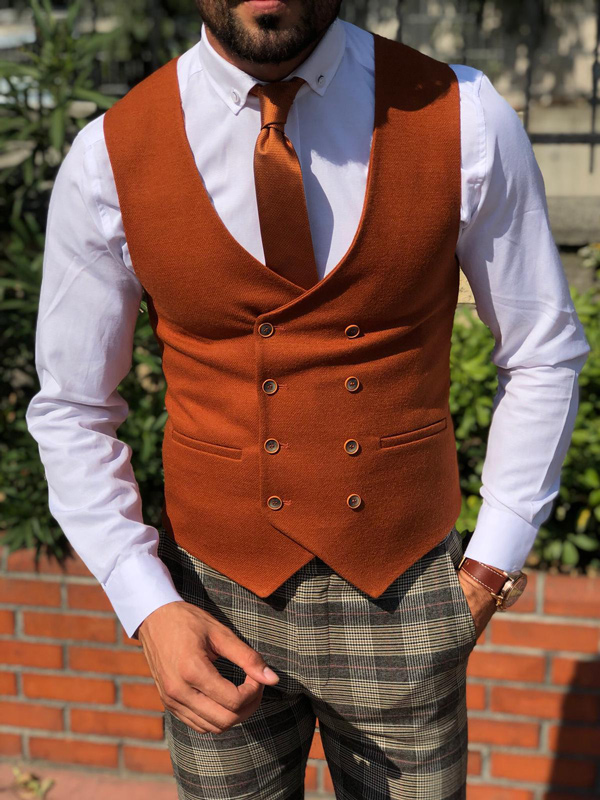 Tile Slim Fit Double Breasted Vest by GentWith.com with Free Shipping