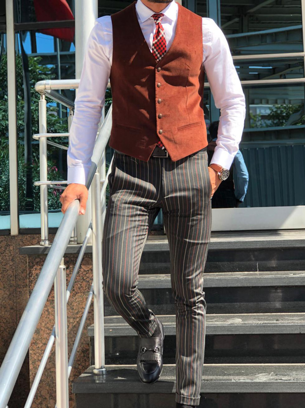 Brown Slim Fit Velvet Vest by GentWith.com with Free Shipping