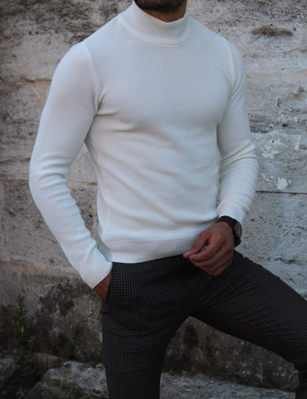 White Mock Neck Sweater by GentWith.com with Free Shipping