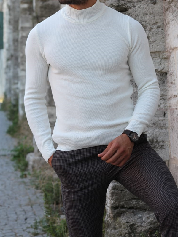White Turtleneck Sweater by GentWith.com with Free Shipping
