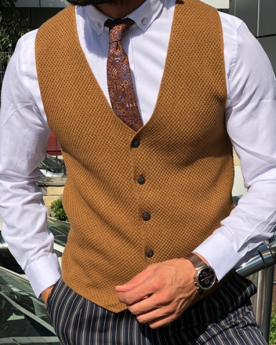 Brown Slim Fit Vest by GentWith.com with Free Shipping