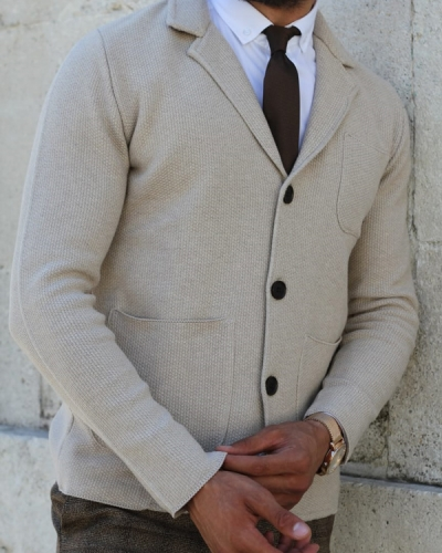 Beige Cardigan by GentWith.com with Free Shipping