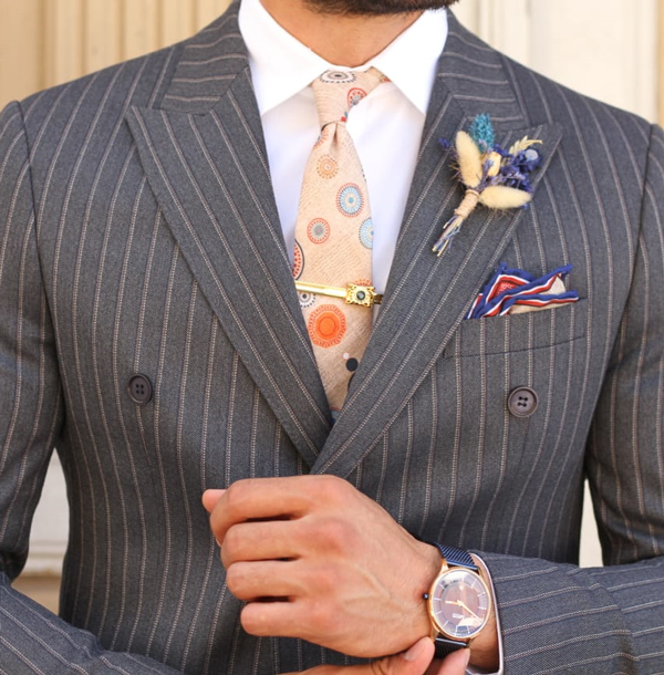 Dark Blue Pinstripe Suit by GentWith.com with Free Shipping