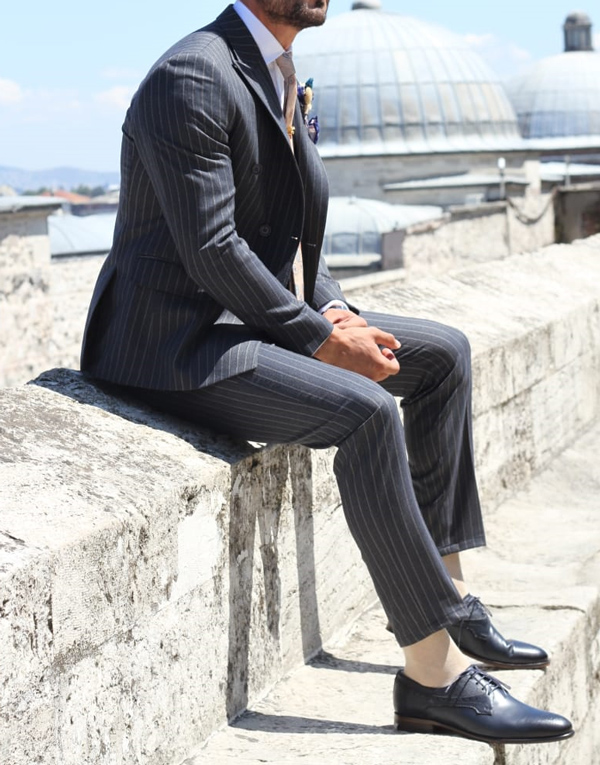 Dark Blue Slim Fit Pinstripe Suit by GentWith.com with Free Shipping