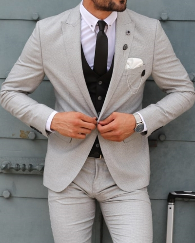 Gray Slim Fit Patterned Suit by GentWith.com with Free Shipping