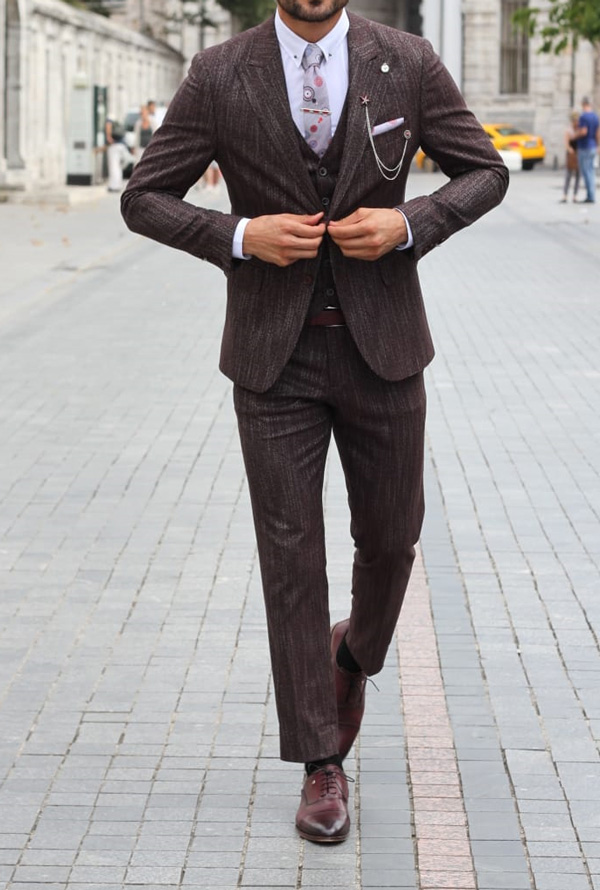 Claret Red Slim Fit Patterned Suit by GentWith.com with Free Shipping