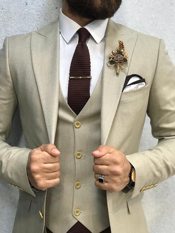 Cream Slim Fit Suit by GentWith.com with Free Shipping