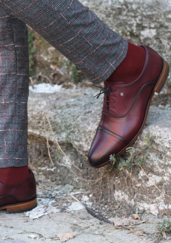 Red Laced Oxford by GentWith.com with Free Shipping