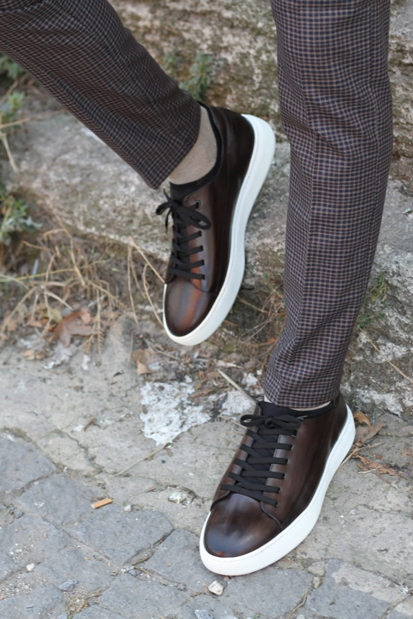 Brown Leather Sneakers by GentWith.com with Free Shipping