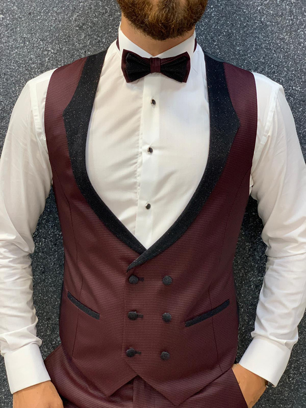 Red Slim Fit Shawl Collar Wedding Tuxedo by GentWith.com with Free Shipping