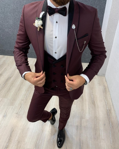 Red Shawl Collar Wedding Tuxedo by GentWith.com with Free Shipping