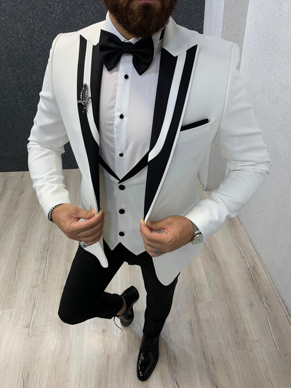 White Slim Fit Wedding Tuxedo by GentWith.com with Free Shipping