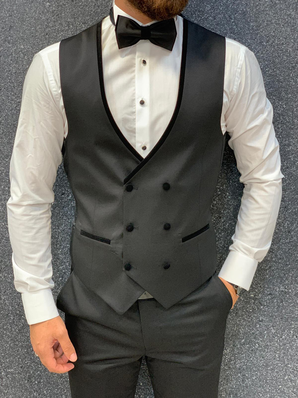 Black Shawl Collar Wedding Tuxedo by GentWith.com with Free Shipping
