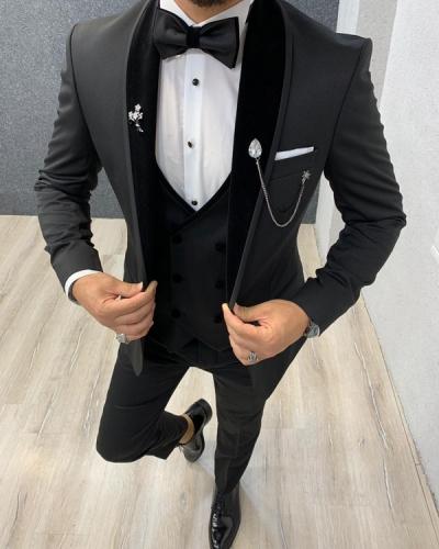 Black Shawl Collar Wedding Tuxedo by GentWith.com with Free Shipping