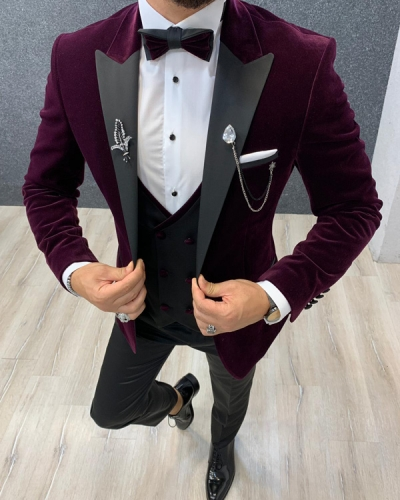 Damson Slim Fit Velvet Wedding Tuxedo by GentWith.com with Free Shipping