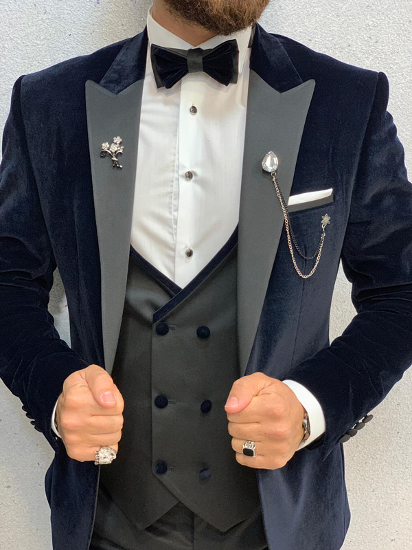 Navy Blue Slim Fit Velvet Tuxedo by GentWith.com with Free Shipping