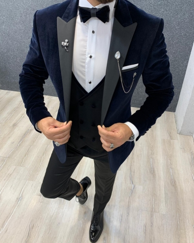 Navy Blue Slim Fit Velvet Wedding Tuxedo by GentWith.com with Free Shipping