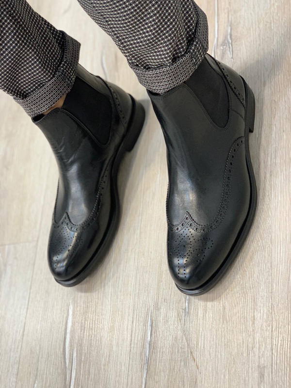 Black Wingtip Chelsea Boots by GentWith.com with Free Shipping