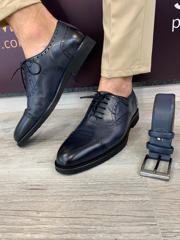 Blue Lace Up Cap Toe Oxford by GentWith.com with Free Shipping