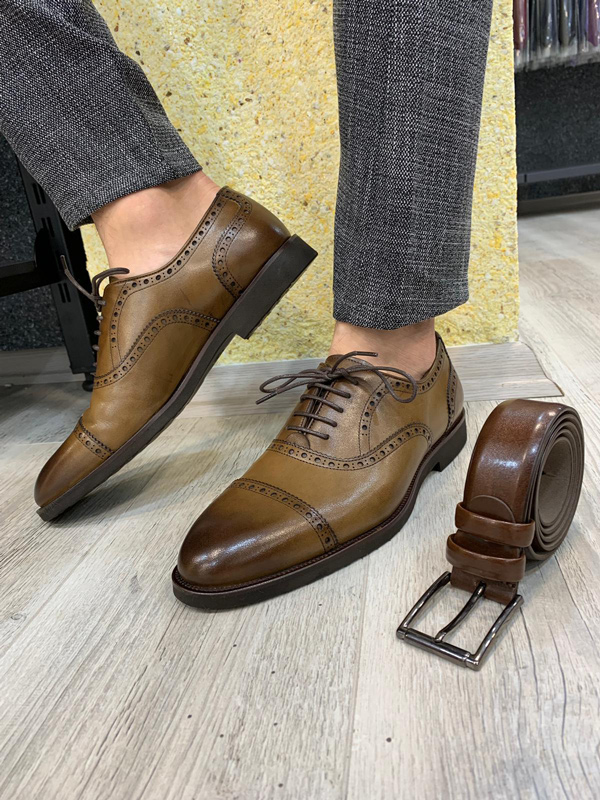 Brown Lace Up Cap Toe Oxford by GentWith.com with Free Shipping