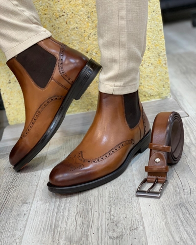 Brown Wingtip Chelsea Boots by GentWith.com with Free Shipping