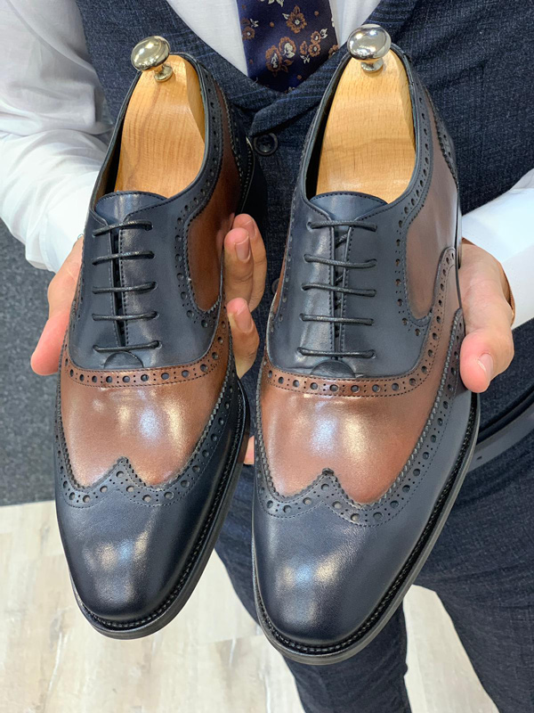 Navy Blue Wingtip Oxford by GentWith.com with Free Shipping