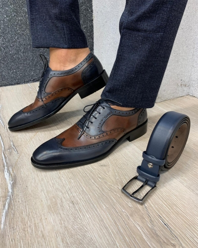 Navy Blue Wingtip Laced Oxford by GentWith.com with Free Shipping