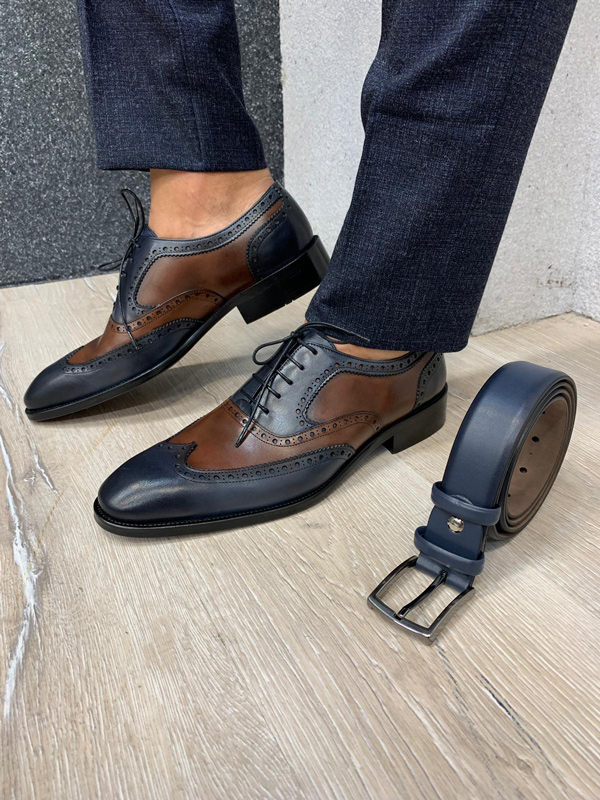 Ade Classic Navy Blue Wingtip Laced